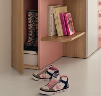 The wardrobe conceals a shoe rack